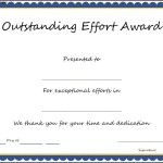Outstanding Effort Award Certificate Template