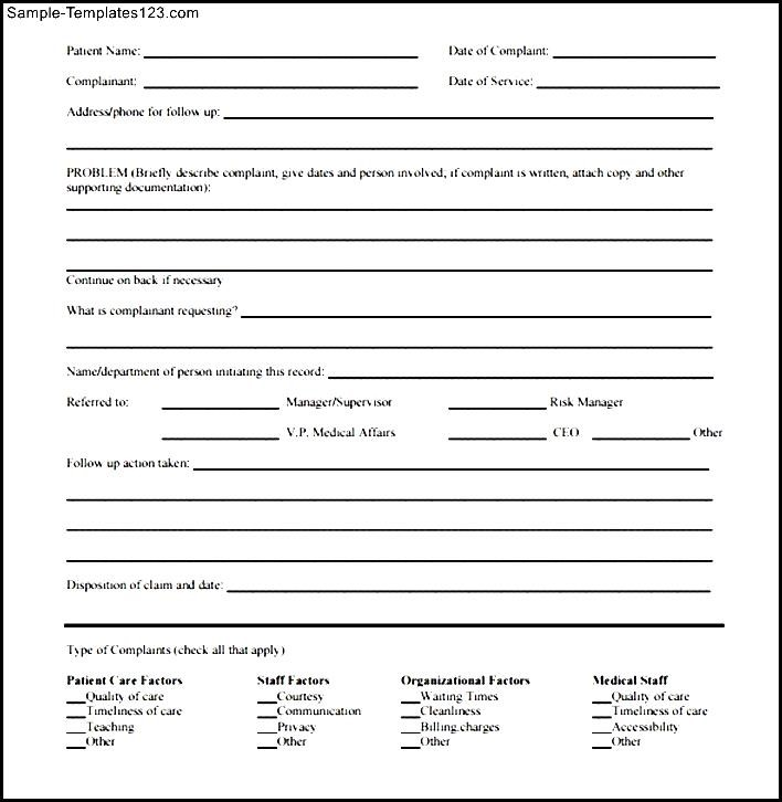 Patient Complaint Form Sample  Sample Templates  Sample Templates
