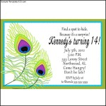 Peacock Party Personalized Invitations at Birthday
