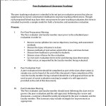 Peer Evaluation Of Classroom Form