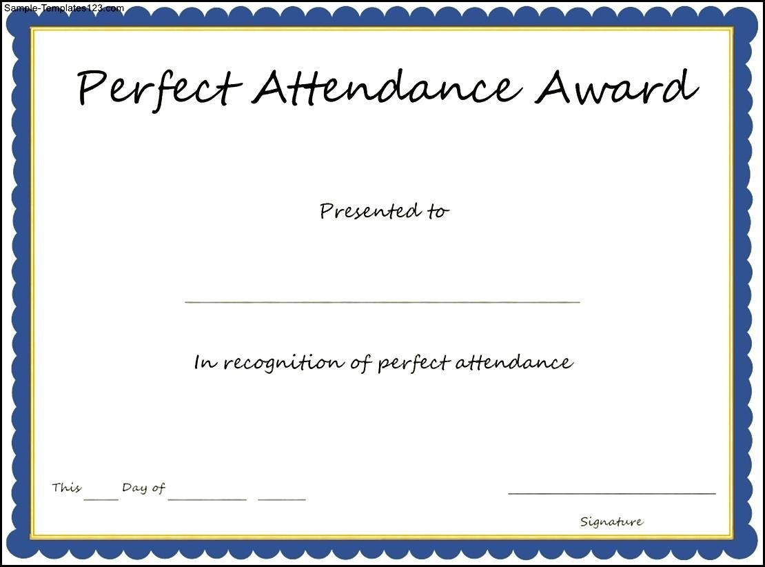 Perfect Attendance Certificate Template Ukrandiffusion