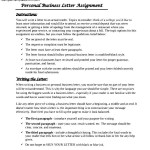 Personal Business Letter Assignment