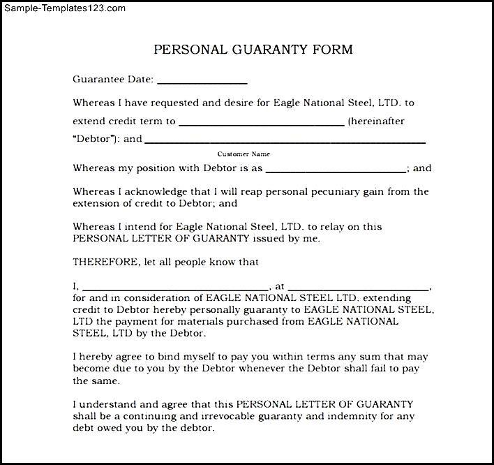Personal guarantee agreement template sample templates sample personal guarantee agreement template maxwellsz