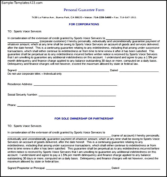 Personal Guarantee Form PDF - Sample Templates - Sample Templates