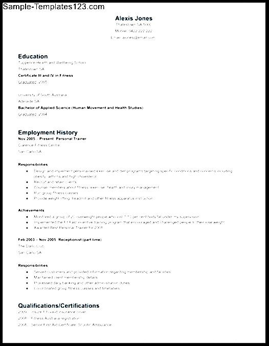 personal trainer resume sample sample templates