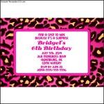 Pink Leopard Print Personalized Invitations
