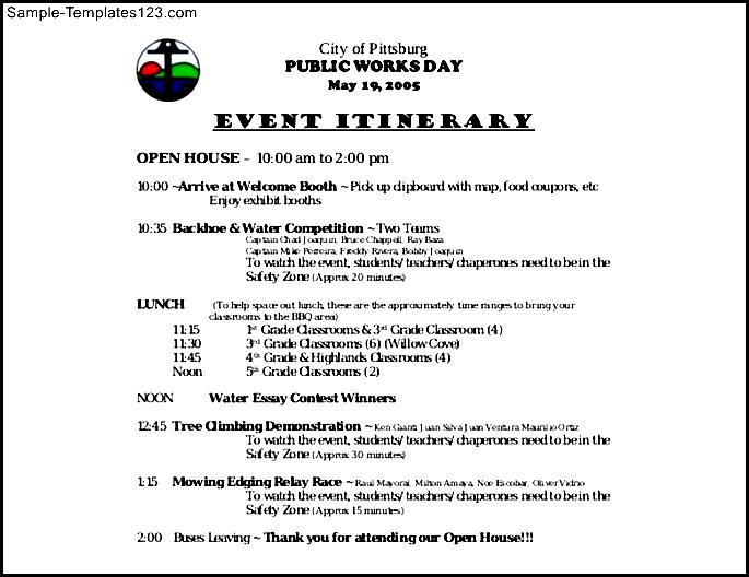 Pitts Burg Sample Event Itinerary Template Free Download - Sample ...