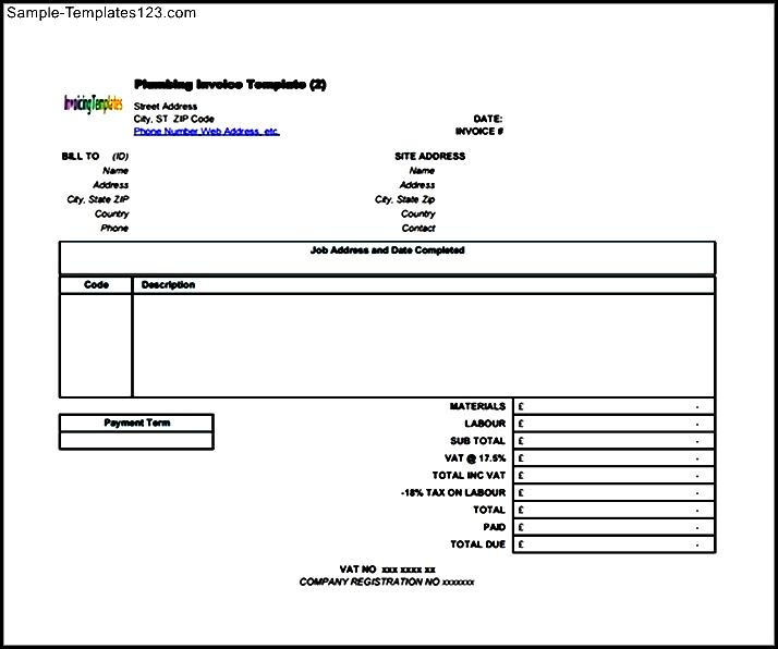 Plumbing Contractor Invoice Template Sample Templates