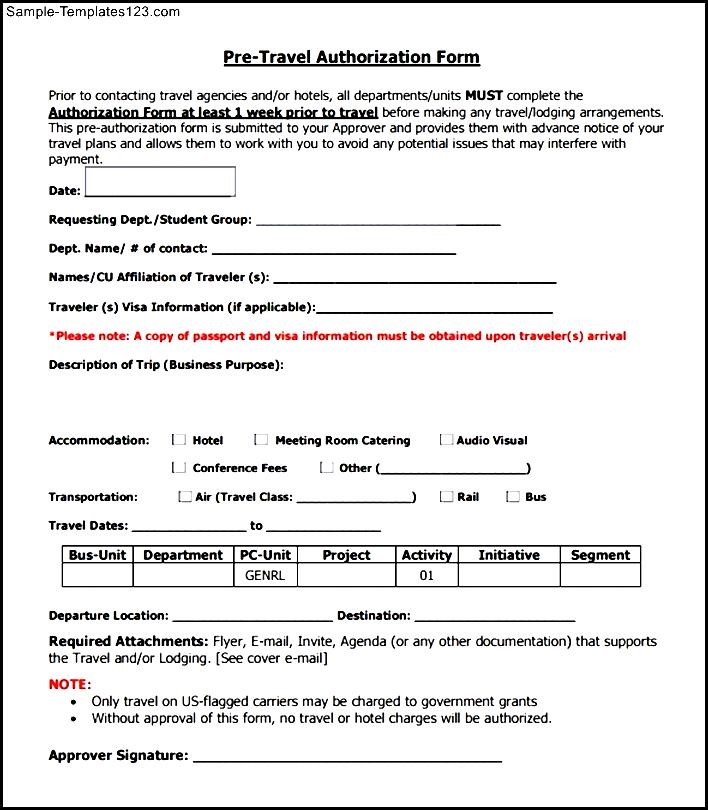 Fantastic Travel Approval Form Template Motif - Resume Ideas ...