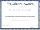 President's Award Certificate Template