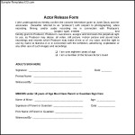 Printable Actor Release Form