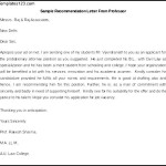 Printable Sample Recommendation Letter From Professor