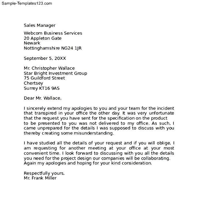 Professional Apology Letter for Misunderstanding - Sample
