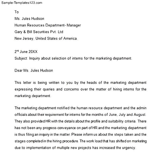 Professional Business Letter | Professional Business Inquiry Letter Sample Templates Sample