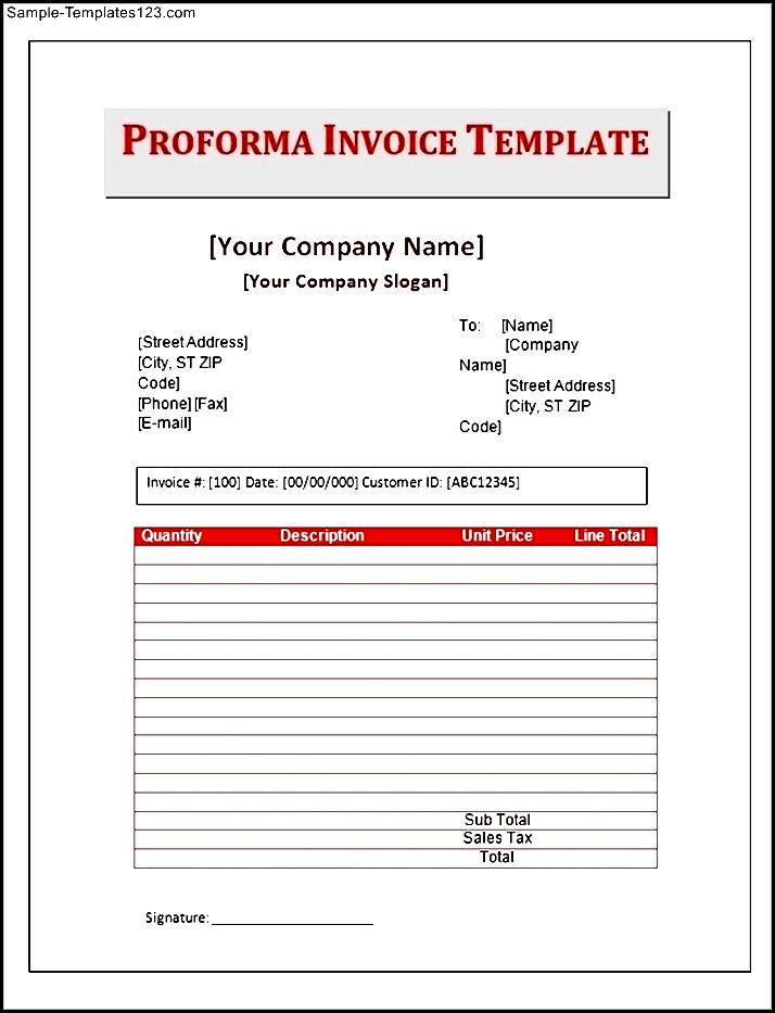 proforma invoice template download free