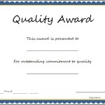 Quality Award Certificate Template