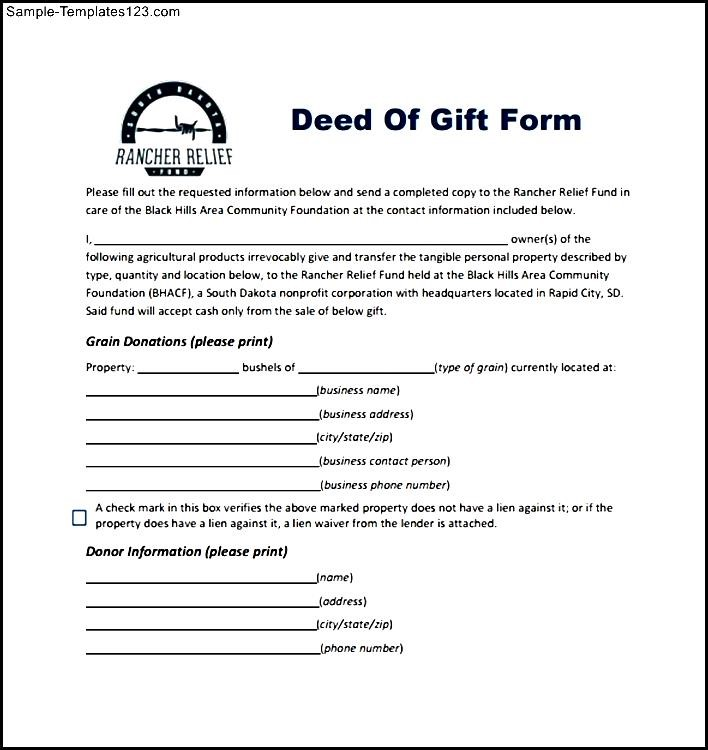 Rancher Relief Deed Of Gift Form - Sample Templates - Sample Templates