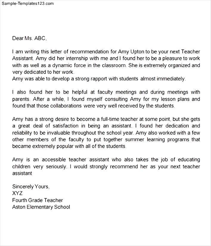 sample reference letter for teacher assistant