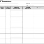 Research Record Sheet Template