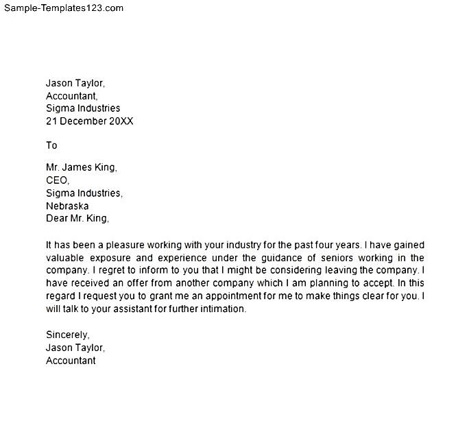 Resignation Notice Letter Format