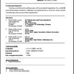 Resume Format For Job Freshers