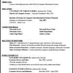 Resume Format for Internship Student