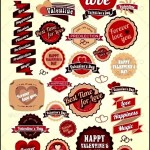 Retro Valentines Day Labels