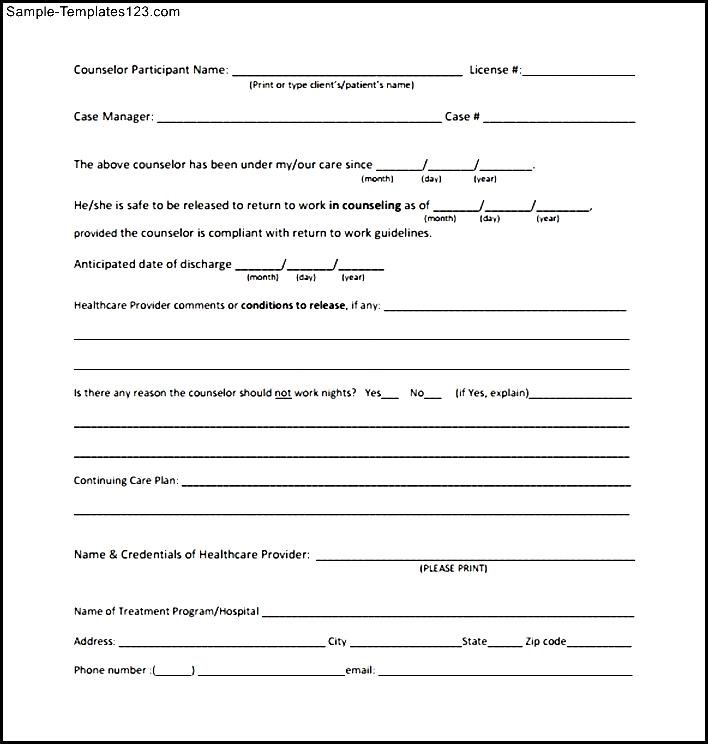 work release form