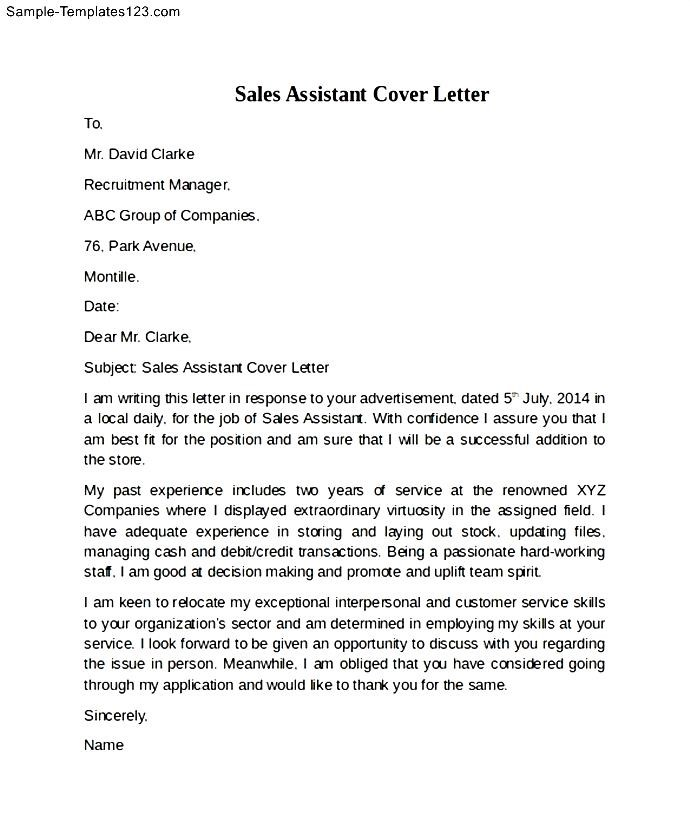sales assistant cover letter example sample templates