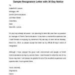 Sample 30 Days Notice Letter