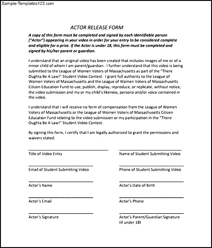 Sample Actor Release Form  Sample Templates  Sample Templates