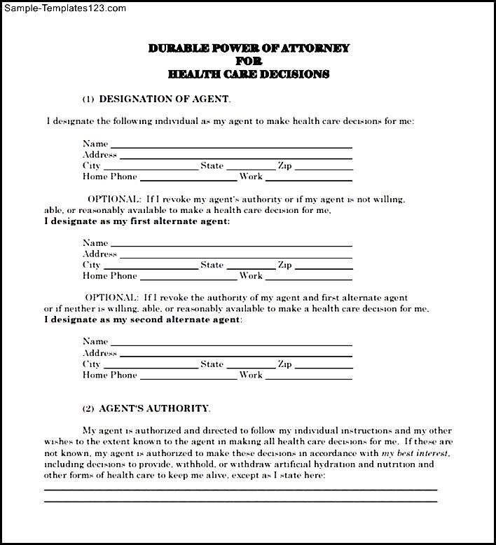 Sample Advance Directive Form  Sample Templates  Sample Templates