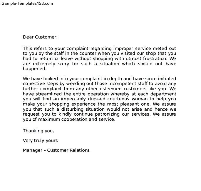 Sample apology letter to customer for error sample templates sample apology letter to customer for error expocarfo Image collections