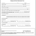 Sample Background Check Authorization Form