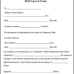Sample Bid Proposal Form