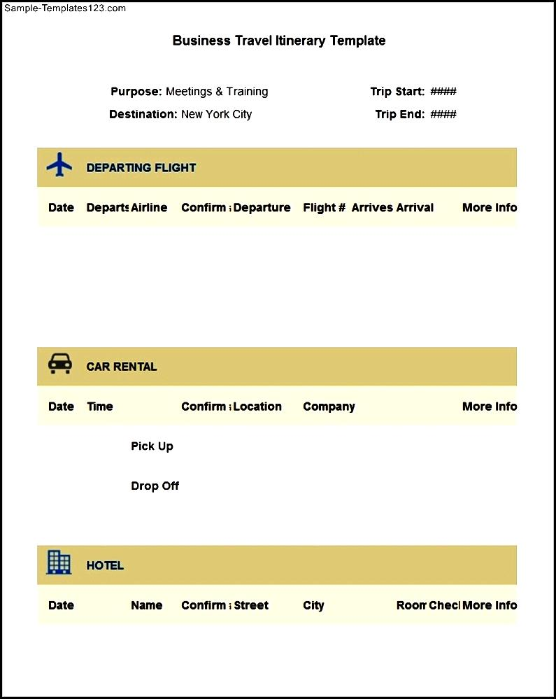 Sample Business Travel Itinerary Template Free Download Sample