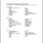 Sample Camping Equipment List Template