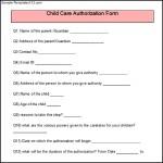 Sample Child Care Authorization Form