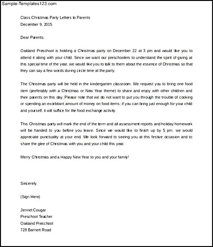 Sample christmas party parent letter template free download sample sample christmas party parent letter template free download spiritdancerdesigns Images