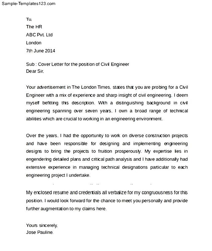 Cover Letter Sample For Civil Engineer. Sample Civil Engineering Cover  Letter ...