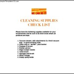 Sample Cleaning Supplies List Template