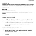 Sample College Student Academic Resume Template