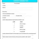 Sample Contractor Evaluation Form