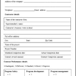 Sample Contractor Performance Evaluation Form