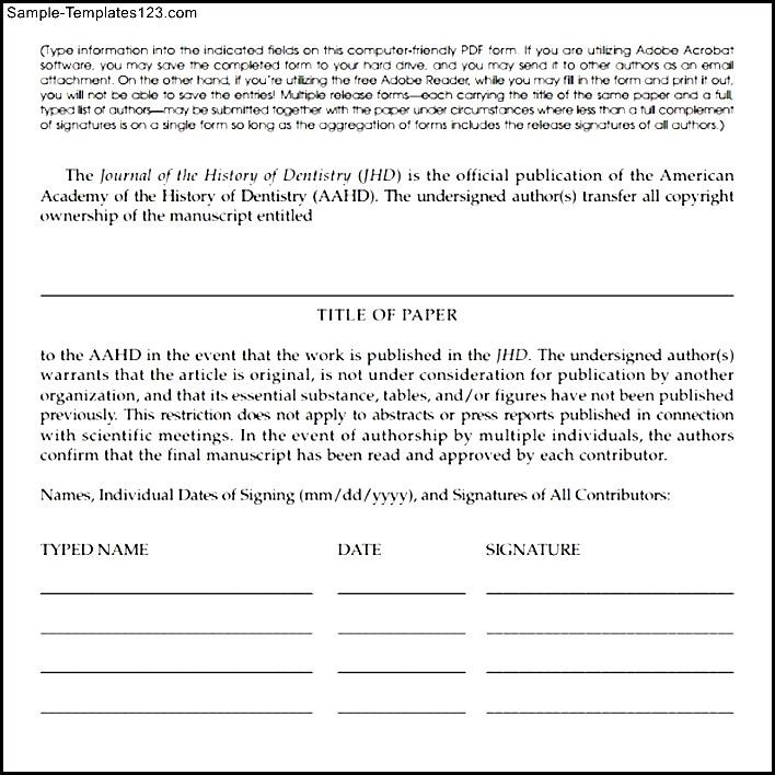 Nice Copyright Release Form Template Images - Resume Ideas ...