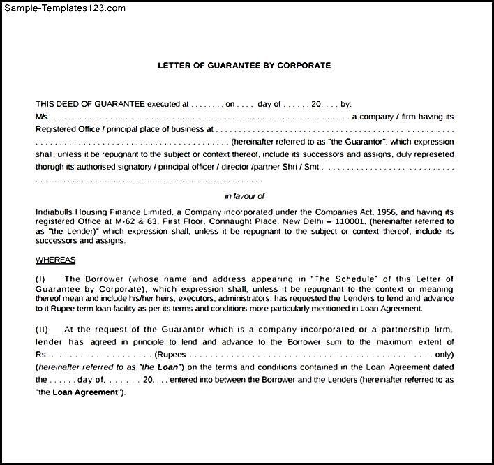 Sample corporate guarantee agreement sample templates sample sample corporate guarantee agreement maxwellsz