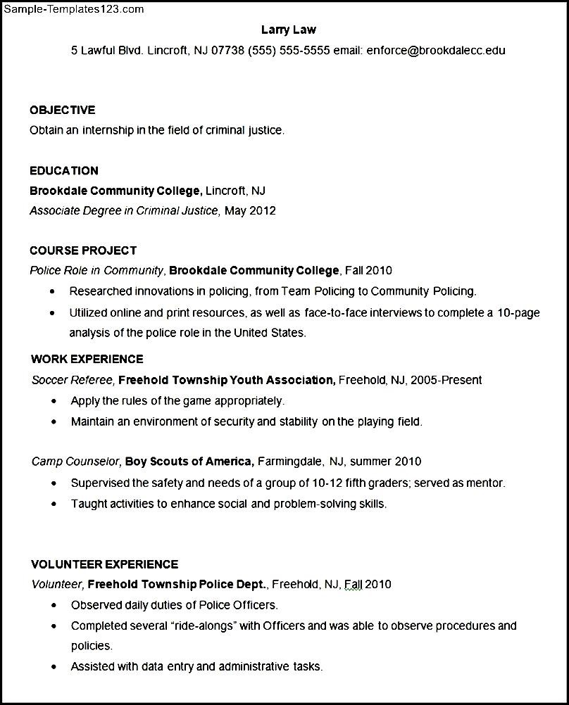 sample criminal justice resume template  sample templates