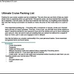 Sample Cruise Packing List Template
