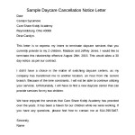 Sample Daycare Cancellation 30 Days Notice Letter