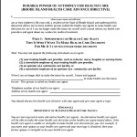 Sample Durable Power Of Attorney For Health Care
